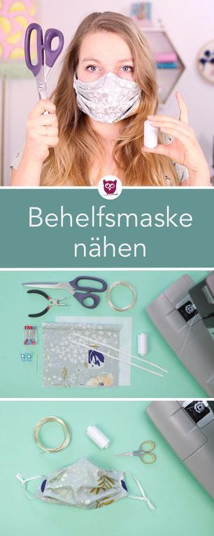 DIY Maske selber basteln Behelfsmaske selber nähen ohne Schnittmuster mit kostenloser Nähanleitung – einfache und schnelle Anleitung ohne Schrägband. Anleitung von DIY Eule.