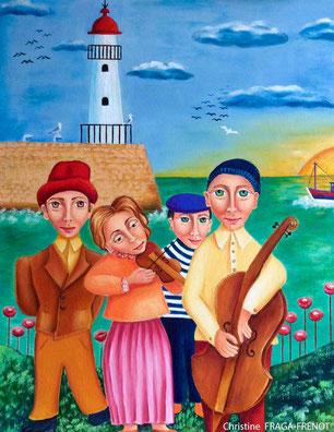 LE MARIAGE détail, 1998, huile sur toile ART NAIF CHRISTINE FRAGA FRENOT