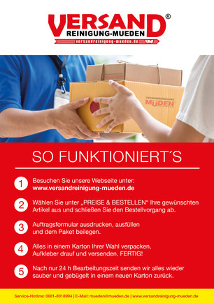 mueden.de, Versandreinigung, so funktioniert, Flyer A5