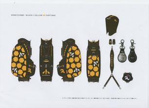 ハニカム/ブラック×イエロー9.5型カートバック画像
