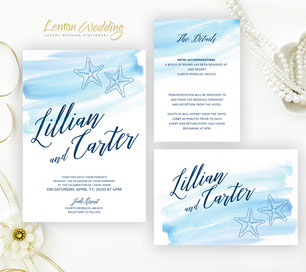 Starfish wedding invitations kit