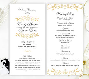 wreath theme wedding programs