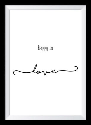 Typografie Poster, Typografie Print Liebe, Happy in love