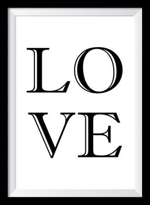 Typografie Poster, Typografie Print Liebe, Love