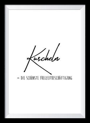 Typografie Poster Liebe, Kuscheln