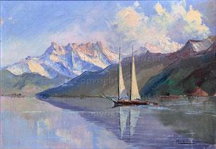 Am Genfersee mit Segelbooten
