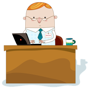 デスクでパソコン仕事をする不動産鑑定士のイラストイメージ