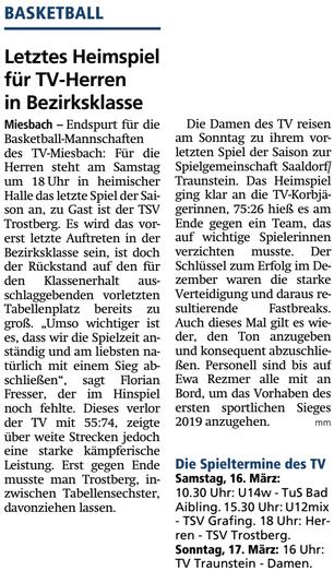 Artikel im Miesbacher Merkur am 16.3.2019 - Zum Vergrößern klicken