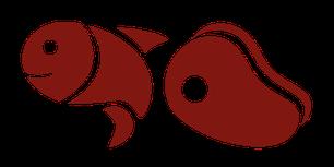Icons Fisch und ein Stück Fleisch