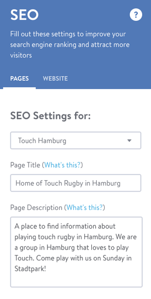 Page Titles and Page Descriptions