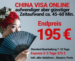 China Visum Standard günstig 155 Euro Endpreis