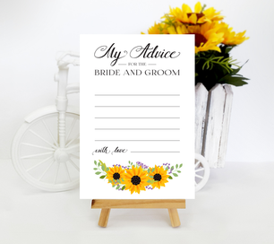 Sunflower themed wedding advice cards