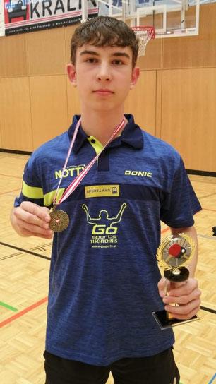 Johannes Maad im Dress Niederösterreichs bei den Österreichischen Meisterschaften der unter 19-Jährigen. Foto: ZVg vom NÖTTV