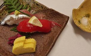 真の日本料理「美菜ガルテンふるかわ」新さんまとまぐろのにぎり