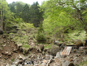 硫黄岳への道 ガイド