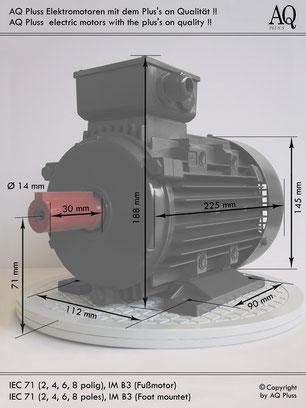 Elektromotor 0,25 KW  6 polig B3 Synchrondrehzahl 1000 U/min  Nenndrehzahl ca.  900 U/min IEC Baugröße 71  Nr.: 62004005