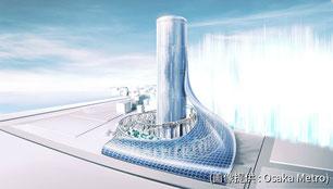 夢洲に建設されるであろう新しいタワーのイメージ