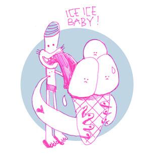 Skizze einer Figur, die an drei Eiskugeln schleckt, von Frank Schulz