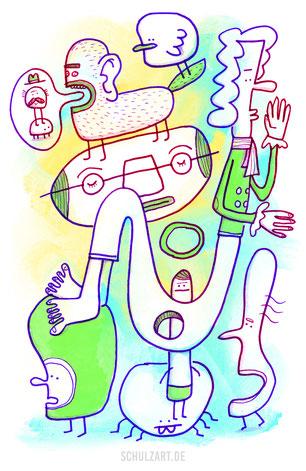 Zeichnung mit einem Gewirr von Kreaturen