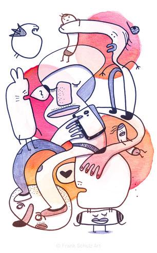 Illustration mit Figuren und Tieren von Frank Schulz