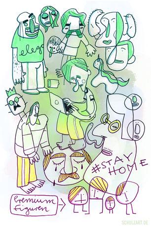 gezeichnete Kreaturen und Figuren in grün, wie ein Mann am Laptop, ein König und ein Einhorn im Homeoffice
