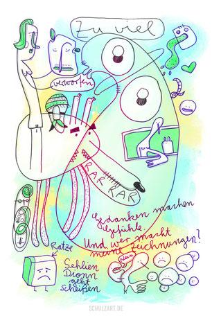 Zeichnung von Frank Schulz mit verrückten Figuren