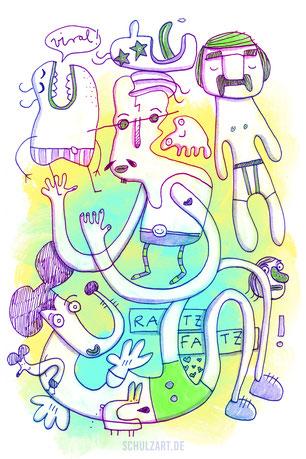 Digitale Zeichnung mit knalligen Farben zum Thema viral gehen, von Illustrator Frank Schulz