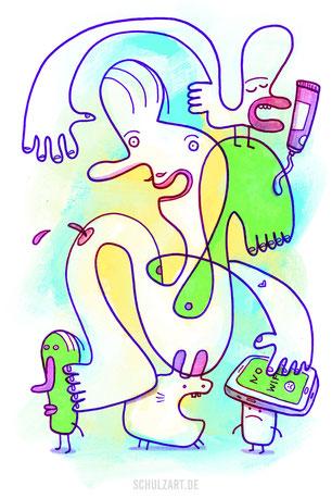 gezeichnete Figuren bei der Körperpflege