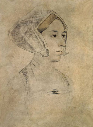 Sketch of Anne Boleyn wearing a Gable Hood by Hans Holbein (flickr, picture by Lisby). Tudor Elizabethan Fashion, Henry VIII, wives, dress, gown