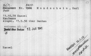 """Die Karteikarte von Karl Mondschein - für den Transport in die Gaskammer steht """"überführt""""."""