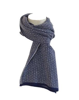 Bufanda cachemira azul blanco