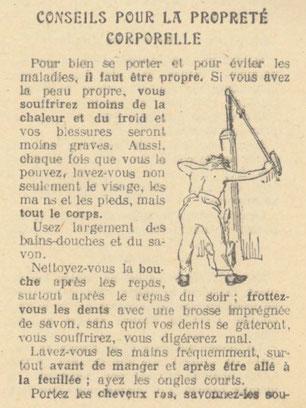 """Manuel """"conseils au soldat pour sa santé"""" 1916 (extrait, source Faussaires sous l'occupation)"""
