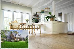 Haus in Niedersachsen, helle Landhausdielen Eiche XL