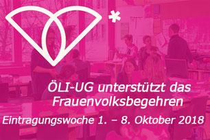 Frauenvolksbegehren unterschreiben - am 01. - 08. 2018  Bild:sp - Foto: Joachim Wiesner - Logo:frauenvolksbegehren