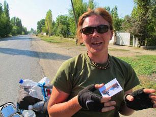 Katrin mit meiner Karte