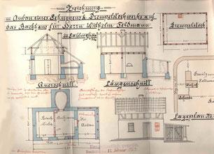 Bauzeichnung des Architekten Josef Stracke 1924