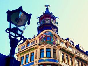 viele historische Bauten im Zentrum von Leipzig
