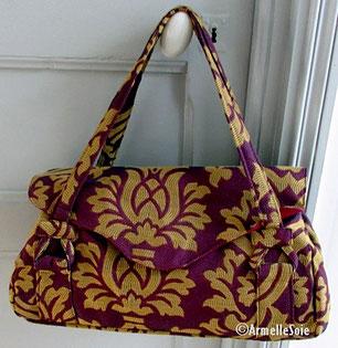 sac,bandoulière, à main,fait main, France, noir,fabriqué en France, fait main,création textile, multicolore