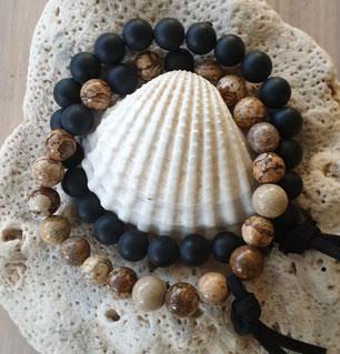 Men's black onyx & jasper gemstone energy bracelets handmade in Noosa Australia