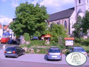 Parkplatz und Frontansicht - Landgasthaus Zum Grünen Baum Flieden/Rückers