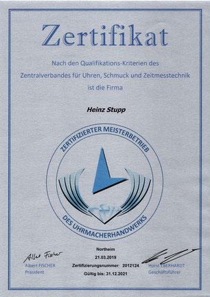 Zertifizierung des Zentralverbandes für Uhren, Schmuck und Zeitmesstechnik     Northeim