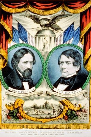 Colorful portrait campaign poster of Frémont and Dayton, 1856
