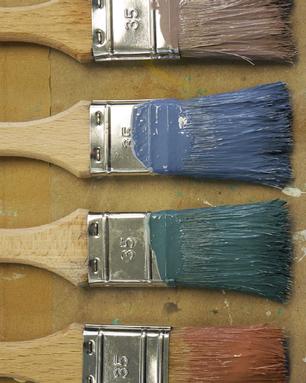 Pinsel mit Standölfarben
