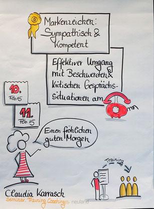 Claudia Karrasch, Seminar, Training, Coaching, Webinar, Online-Training Beschwerdemanagement, Umgang mit Beschwerden, Bonn, bundesweit, Visualisieren, Flipchart, zeichnen