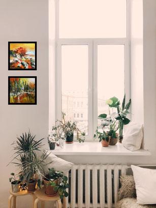 """En situation (de haut en bas) -  """"Solo naturel"""" et """"Lac aux pins"""" - Formats 20x20"""