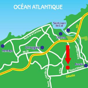 Plan de localisation - Centre Equestre Larrun Alde - Urrugne