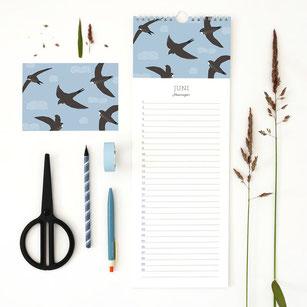 Geburtstagskalender mit Vögeln