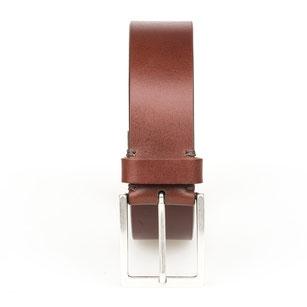 Herren Jeans Gürtel aus Leder in cognac handgenäht mit Schnalle in silber