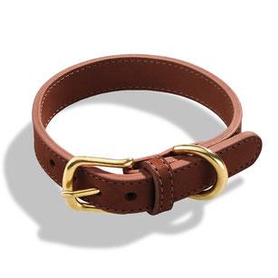 Braunes Hundehalsband aus Leder mit goldener Schließe aus Messing