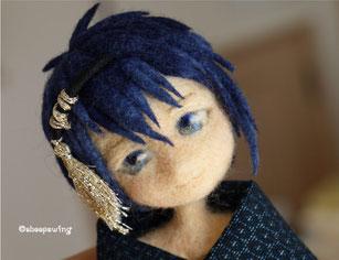 刀剣乱舞 三日月宗近 ちび キャラクター 羊毛フェルト 人形